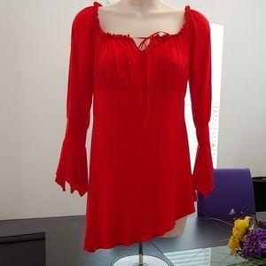 Red asymmetrical top.